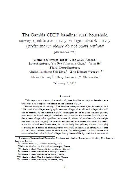 CDDP Baseline:Rural Household Survey, Qualitative Survey, Village Network Survey (2010)